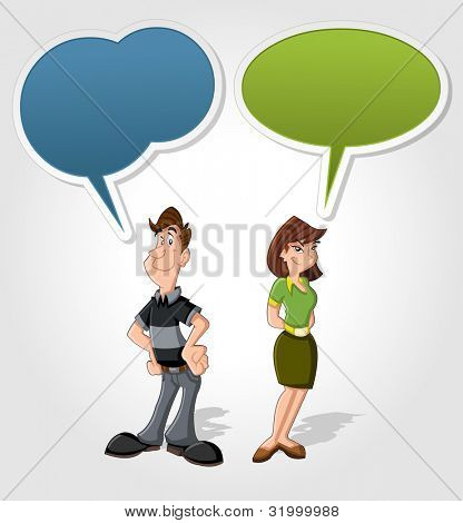 Cartoon man and woman talking with speech balloon
