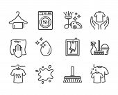 Set Of Cleaning Icons, Such As Washing Cloth, Window Cleaning, Clean Towel, Household Service, Hold  poster