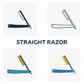 Straight Razor Icon Set. Four Elements In Diferent Styles From Barber Shop Icons Collection. Creativ poster