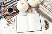 Autumn Breakfast In Bed Composition. Blank Open Notepad, Diary Mockup. Cup Of Coffee, White Pumpkins poster