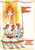 Vector Design Of Indian Lord Ganpati For Ganesh Chaturthi Festival Of India With Hindi Text Ganpati  poster