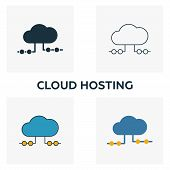 Cloud Hosting Icon Set. Four Elements In Diferent Styles From Big Data Icons Collection. Creative Cl poster