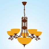 stock photo of light fixture  - Chandelier Silhouette with lamps - JPG