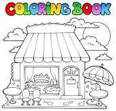 Coloring book cartoon candy store - vector illustration.