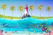 Vector Cartoon Lighthouse Sea Port Nautical Clipart poster