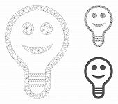 Mesh Smile Bulb Model With Triangle Mosaic Icon. Wire Frame Polygonal Mesh Of Smile Bulb. Vector Mos poster
