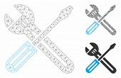 Mesh Spanner And Screwdriver Model With Triangle Mosaic Icon. Wire Frame Polygonal Mesh Of Spanner A poster