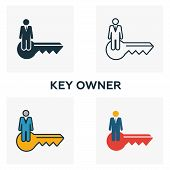 Key Owner Icon Set. Four Elements In Diferent Styles From Blockchain Icons Collection. Creative Key  poster