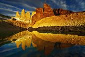 stock photo of faerie  - Towers with reflection at sunrise - JPG