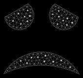Flare Mesh Sad Face Smiley With Glare Effect. Abstract Illuminated Model Of Sad Face Smiley Icon. Sh poster