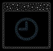 Glowing Mesh Time Calendar Page With Lightspot Effect. Abstract Illuminated Model Of Time Calendar P poster