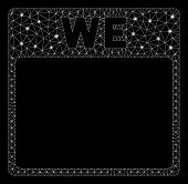Glossy Mesh Wednesday Calendar Page With Sparkle Effect. Abstract Illuminated Model Of Wednesday Cal poster