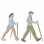 Nordic Or Scandinavian Walking. Man And Woman In Warm Clothing With Sticks In Profile. Safe Fitness  poster