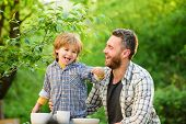 Natural Nutrition Concept. Dad And Cute Toddler Boy Having Lunch Outdoors. Child Care. Feeding Son N poster