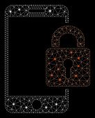 Flare Mesh Smartphone Locked With Glare Effect. Abstract Illuminated Model Of Smartphone Locked Icon poster