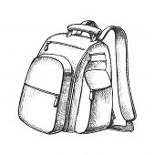 Modern Tourist Backpack Suitcase Monochrome Vector. Standing Suitcase Bag For Trip Accessories. Tour poster