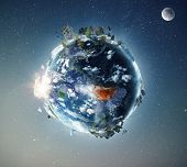 Amazon tropical forest in fire, conceptual photo manipulation of planet Earth. Elements of this imag poster