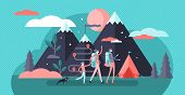 Family Camping Vector Illustration. Flat Tiny Exploration Persons Concept. Summer Vacation Holidays  poster