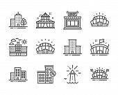 Set Of Buildings Icons, Such As Lighthouse, University Campus, Arena Stadium, Arena, Skyscraper Buil poster