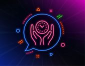 Safe Time Line Icon. Neon Laser Lights. Clock Sign. Office Management Symbol. Glow Laser Speech Bubb poster
