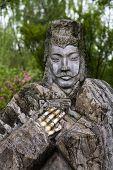 stock photo of 1700s  - Old Stone Statue Liu Bei Three Kingdoms Wuhou Memorial Temple Chengdu Sichuan China - JPG