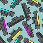 Printer Toner Cartridge Cmyk Pattern Seamless. Cyan And Magenta. Yellow And Key Color. Ink Laser Jet poster