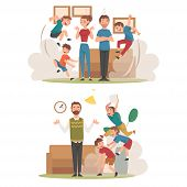 Meditating Parents And Mischievous Children Set, Kids Having Fun At Home, Naughty, Rowdy Children, B poster