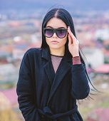 Good Morning. Sky. Sensual Girl In Terry Bathrobe And Sunglasses. Relax Outdoor. Vacation And Weeken poster