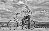 Girl Ride Cruiser Bicycle. Health Benefits Of Cycling. Reasons To Ride Bike. Woman Rides Bicycle Sky poster