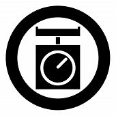 Kitchen Scales Domestic Weigh Scales Weighing Scales With Pan Kitchen Appliances Icon In Circle Roun poster