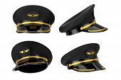 Civil Aviation And Air Transport Airline Pilots Hat Or Cap With Gold Aviation Insignia On A White Ba poster