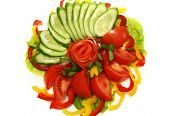 foto of risque  - Tomatoes cucumbers and pepper for salad - JPG