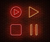 Neon Player Button Signs Vector Isolated On Brick Wall. Play, Stop, Pause Button Light Symbol, Decor poster