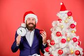 Keep Track Of Time. Time To Celebrate. Businessman Join Christmas Celebration. Man Bearded Wear Suit poster
