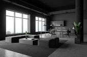 Corner Of Modern Kitchen And Living Room With Gray Walls, Concrete Floor, Grey Countertops, Bar With poster