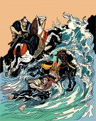 Two Samurai Horsemen Crossing A Stormy Sea. One Warrior With A Black Horse Swimming In Water, Anothe poster