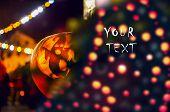 Halloween Card With Shining Pumpkin Head. Halloween Frame With Pumpkin And Text. Halloween Sale. Hap poster