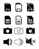 Set Of Icon App, Ui, Web. Sd Card Icon, Sd Card Off Icon. Sim Card Icon, Sim Card Off Icon. Camera I poster