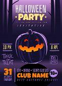 Halloween Cartoon Poster. Halloween Party Vertical Poster Template Design Pumpkin Lantern Dark Fores poster