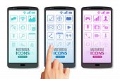 Isometric Multimedia Icons Vertical Banners. Three Vertical Banners In The Form Of Smartphone Screen poster