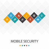 Mobile Security Trendy Ui Template Infographics Concept.mobile Phishing, Spyware, Internet Security, poster