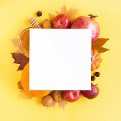 Yellow Autumnal Leaves, Fruits And Vegetables Flat Lay, Copy Space. Creative Seasonal Autumn Layout, poster