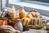 Autumn Table Setting With Pumpkins. Thanksgiving Holiday Dinner And Fall Decoration. poster