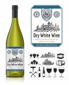 Vector Vintage White Wine Label And Wine Bottle Mockup poster