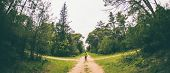 A Woman Stands At The Crossroads Of Two Forest Roads. The Girl At The Crossroads. The Choice Of The  poster
