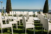 Beautiful Outgoing Wedding Set Up.romantic Wedding Ceremony , Wedding Outdoor On The Lawn Water View poster