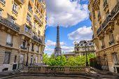 Paris France City Skyline At Eiffel Tower And Paris Architecture Building poster