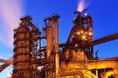 stock photo of blast-furnace  - Night view of blast furnace equipment of the metallurgical plant - JPG