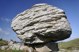 picture of errat  - Limestone Glacial Erratic Boulder Caher Valley The Burren - JPG