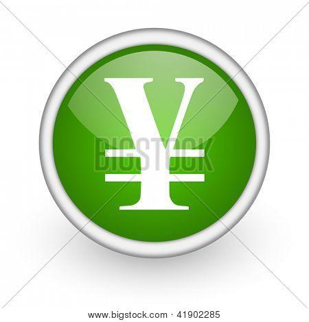yen green circle glossy web icon on white background